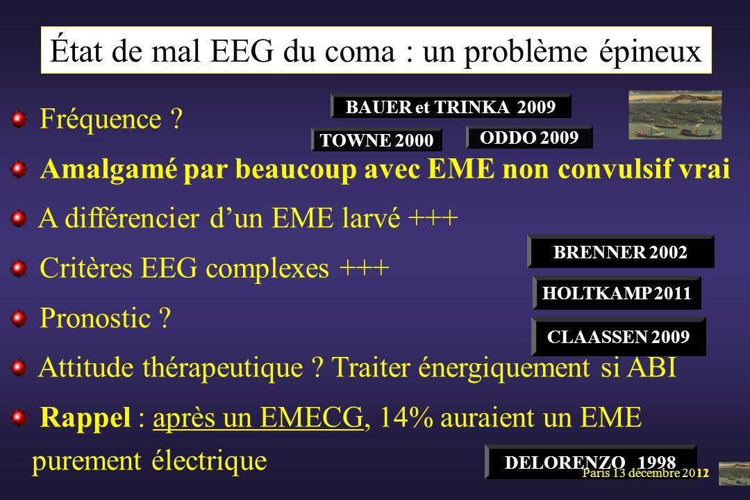 État de mal EEG du coma : un problème épineux