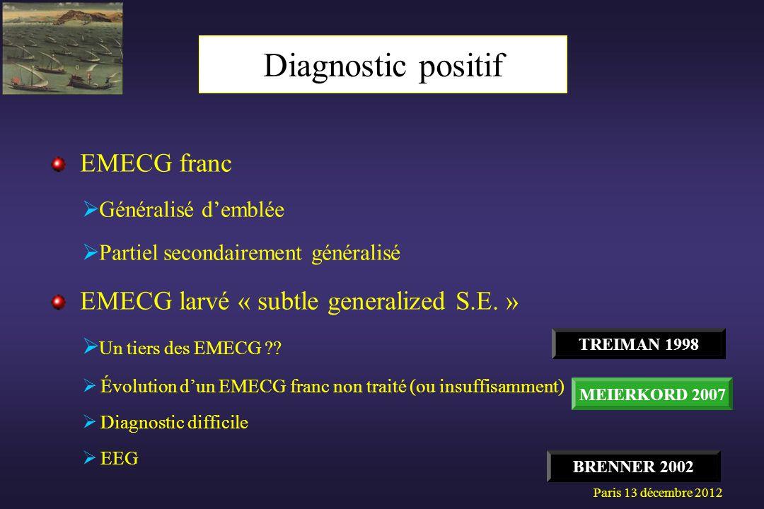 Diagnostic positif EMECG franc EMECG larvé « subtle generalized S.E. »