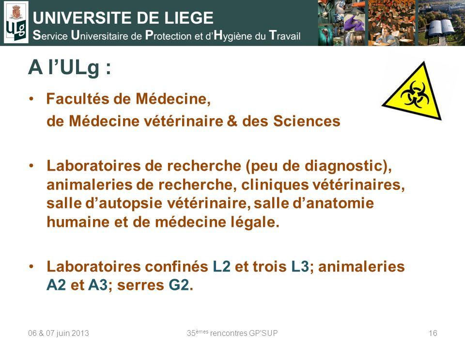 A l'ULg : Facultés de Médecine, de Médecine vétérinaire & des Sciences