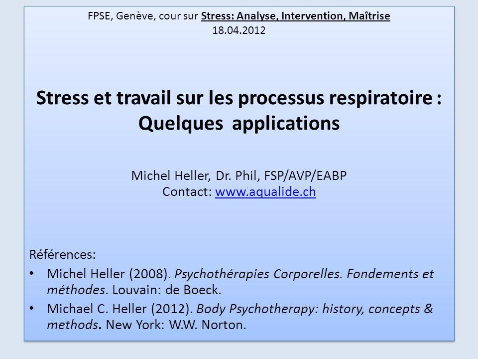FPSE, Genève, cour sur Stress: Analyse, Intervention, Maîtrise