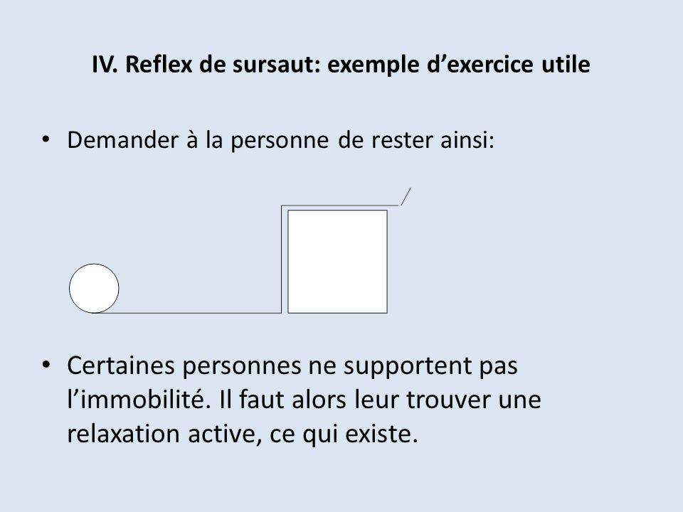 IV. Reflex de sursaut: exemple d'exercice utile