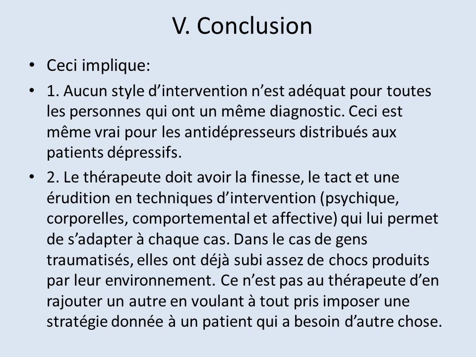 V. Conclusion Ceci implique:
