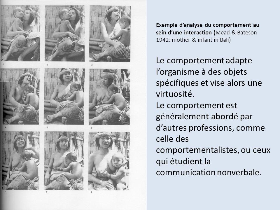 Exemple d'analyse du comportement au sein d'une interaction (Mead & Bateson 1942: mother & infant in Bali) Le comportement adapte l'organisme à des objets spécifiques et vise alors une virtuosité.