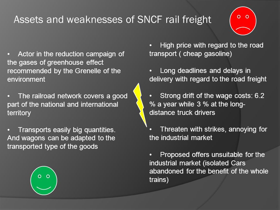Assets and weaknesses of SNCF rail freight