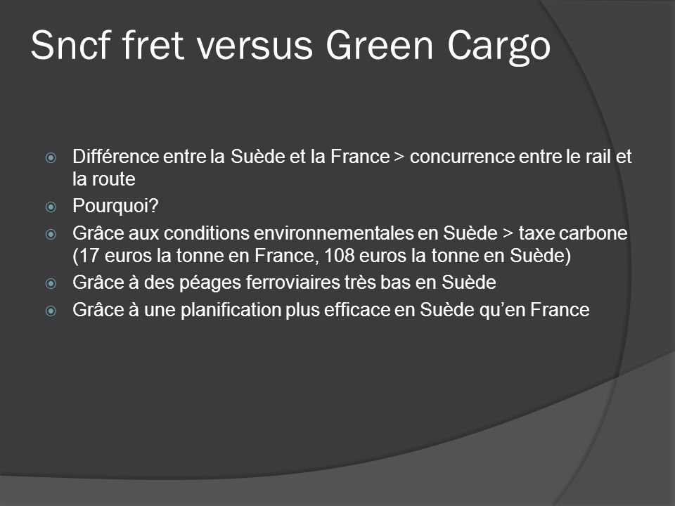 Sncf fret versus Green Cargo