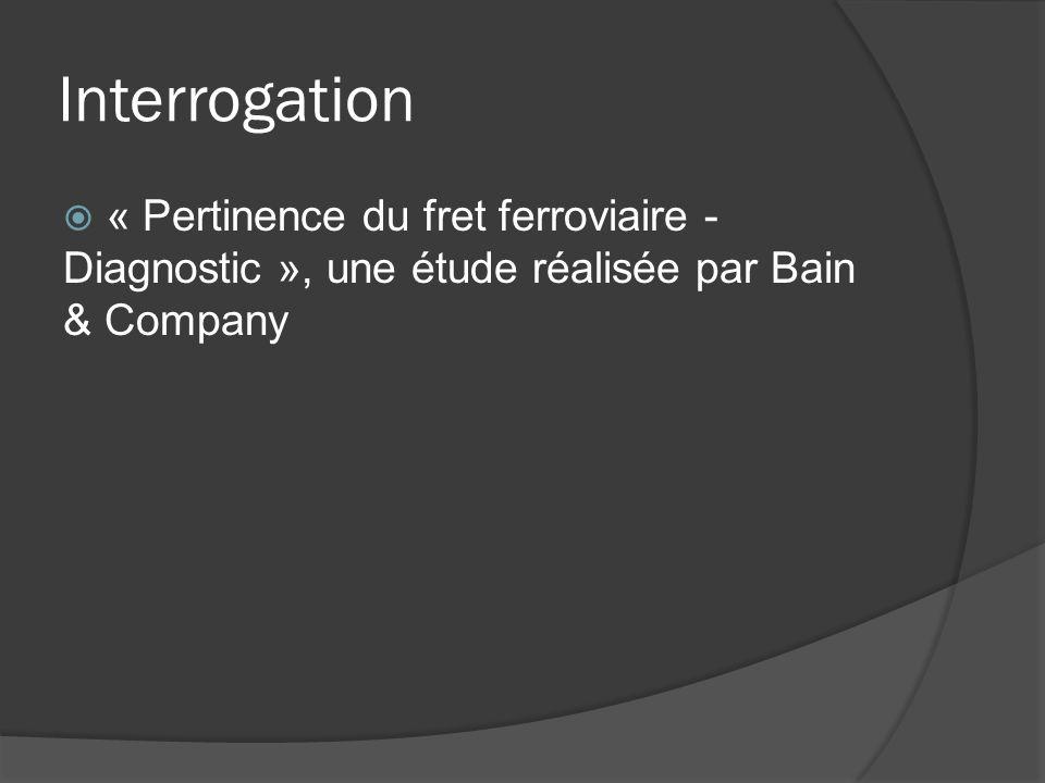 Interrogation « Pertinence du fret ferroviaire - Diagnostic », une étude réalisée par Bain & Company.