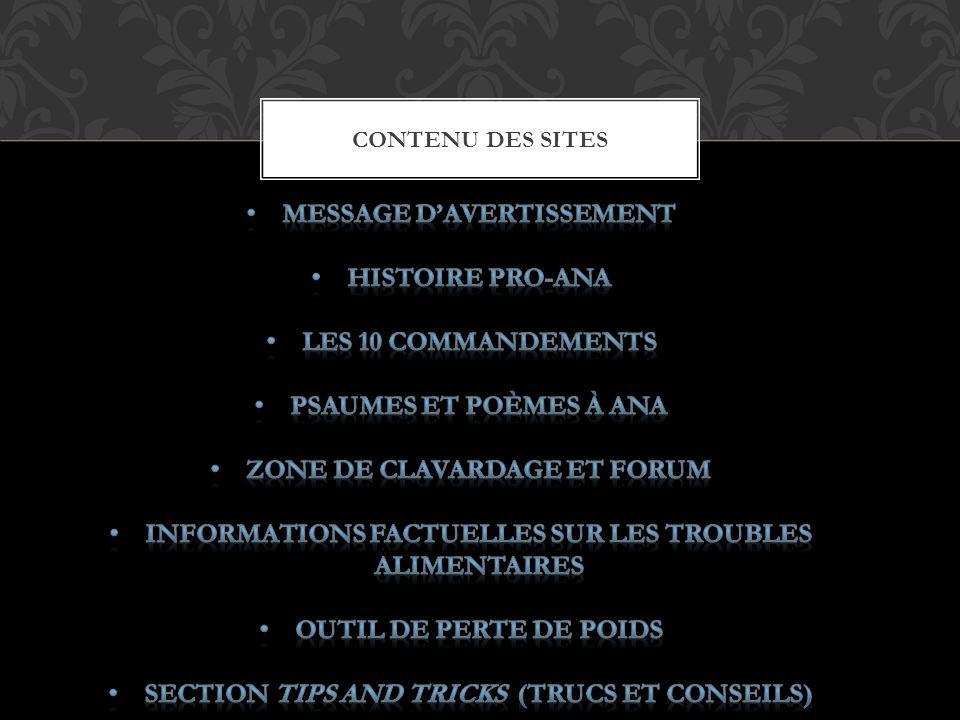 Message d'avertissement Histoire Pro-Ana Les 10 commandements