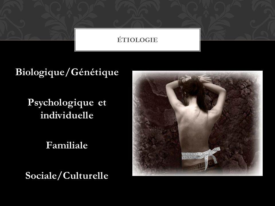 Étiologie Biologique/Génétique Psychologique et individuelle Familiale Sociale/Culturelle