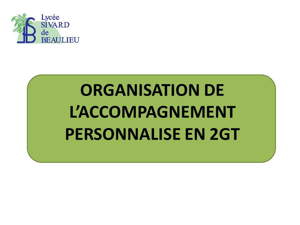ORGANISATION DE L'ACCOMPAGNEMENT PERSONNALISE EN 2GT