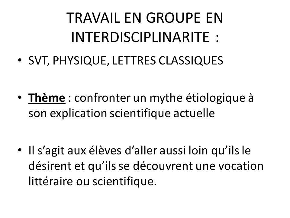 TRAVAIL EN GROUPE EN INTERDISCIPLINARITE :