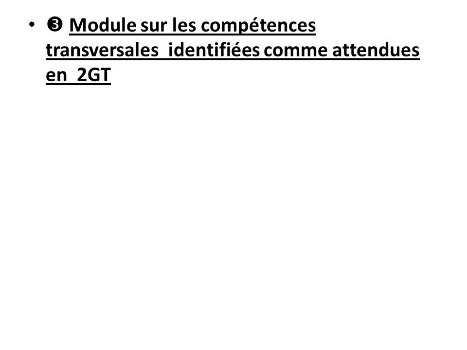  Module sur les compétences transversales identifiées comme attendues en 2GT