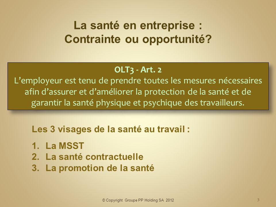 La santé en entreprise : Contrainte ou opportunité