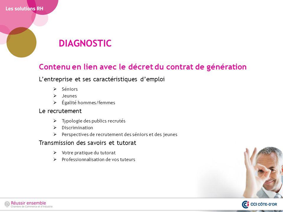 DIAGNOSTIC Contenu en lien avec le décret du contrat de génération