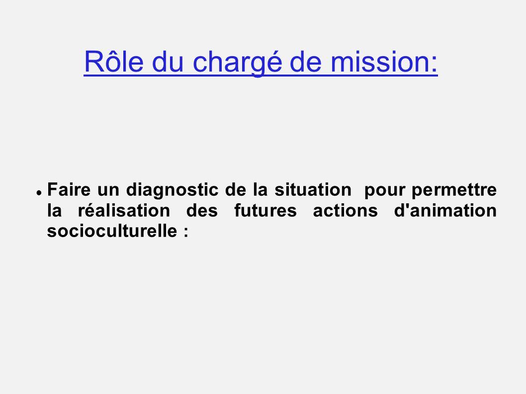 Rôle du chargé de mission: