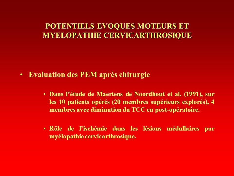 POTENTIELS EVOQUES MOTEURS ET MYELOPATHIE CERVICARTHROSIQUE