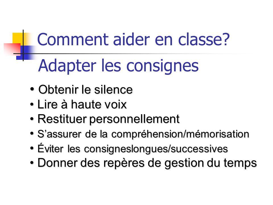 Comment aider en classe