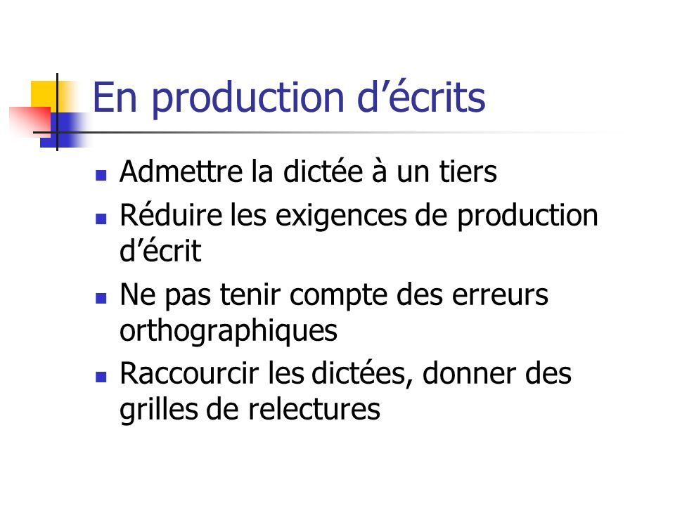 En production d'écrits