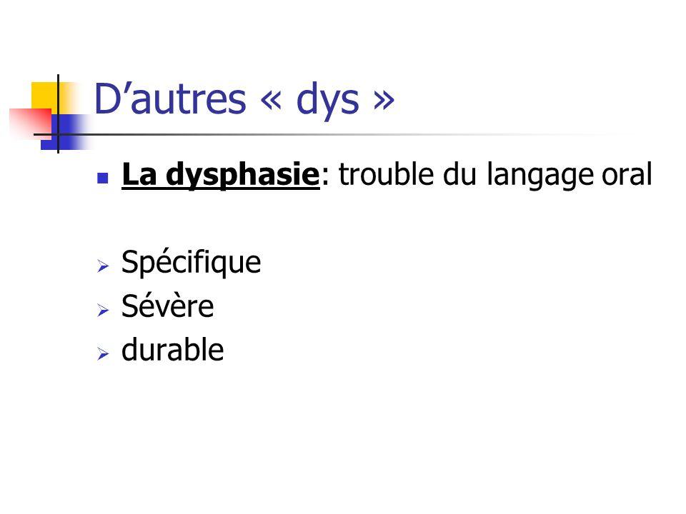 D'autres « dys » La dysphasie: trouble du langage oral Spécifique