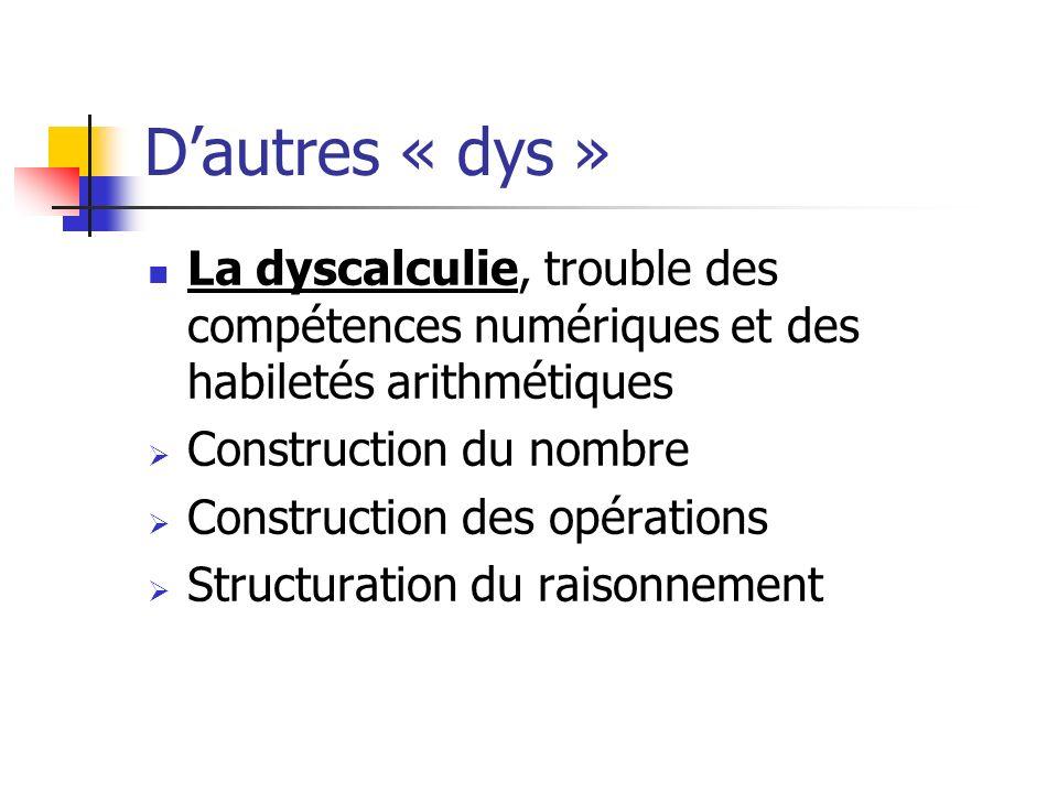 D'autres « dys » La dyscalculie, trouble des compétences numériques et des habiletés arithmétiques.