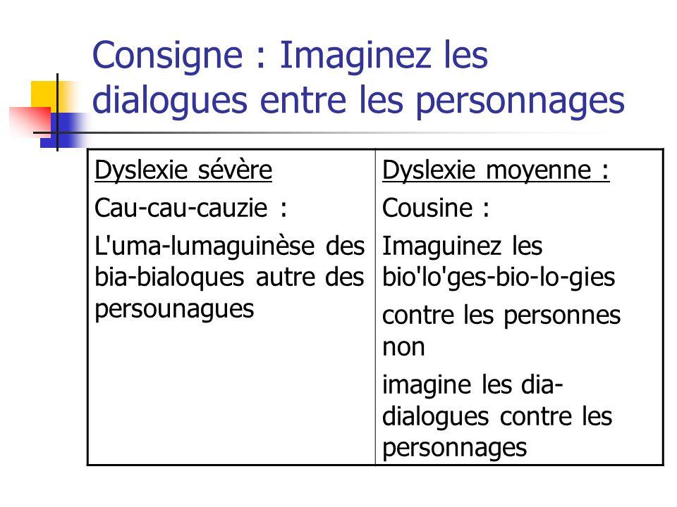 Consigne : Imaginez les dialogues entre les personnages