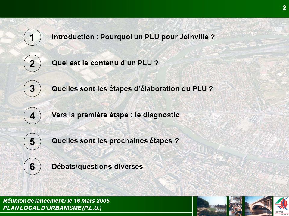 1 2 3 4 5 6 Introduction : Pourquoi un PLU pour Joinville