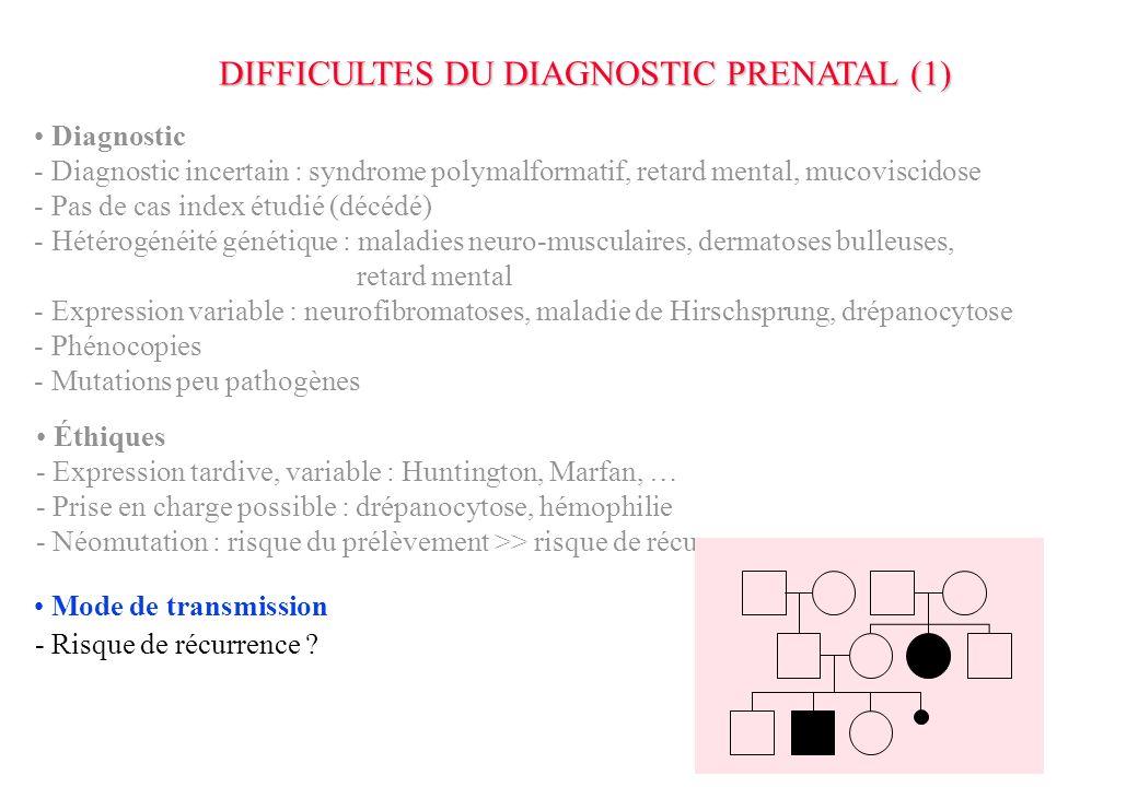 DIFFICULTES DU DIAGNOSTIC PRENATAL (1)