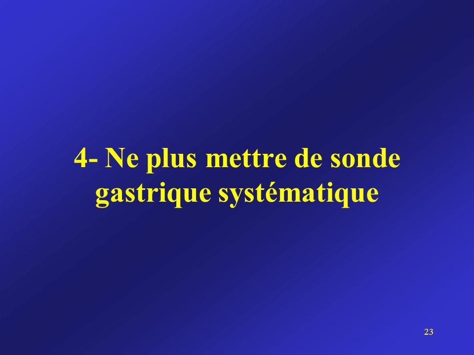 4- Ne plus mettre de sonde gastrique systématique