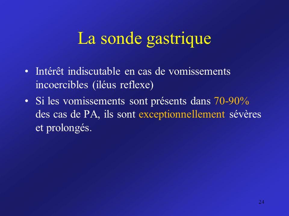 La sonde gastrique Intérêt indiscutable en cas de vomissements incoercibles (iléus reflexe)
