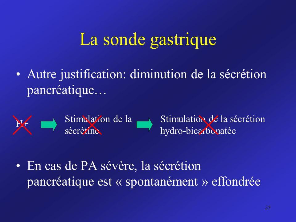La sonde gastrique Autre justification: diminution de la sécrétion pancréatique…