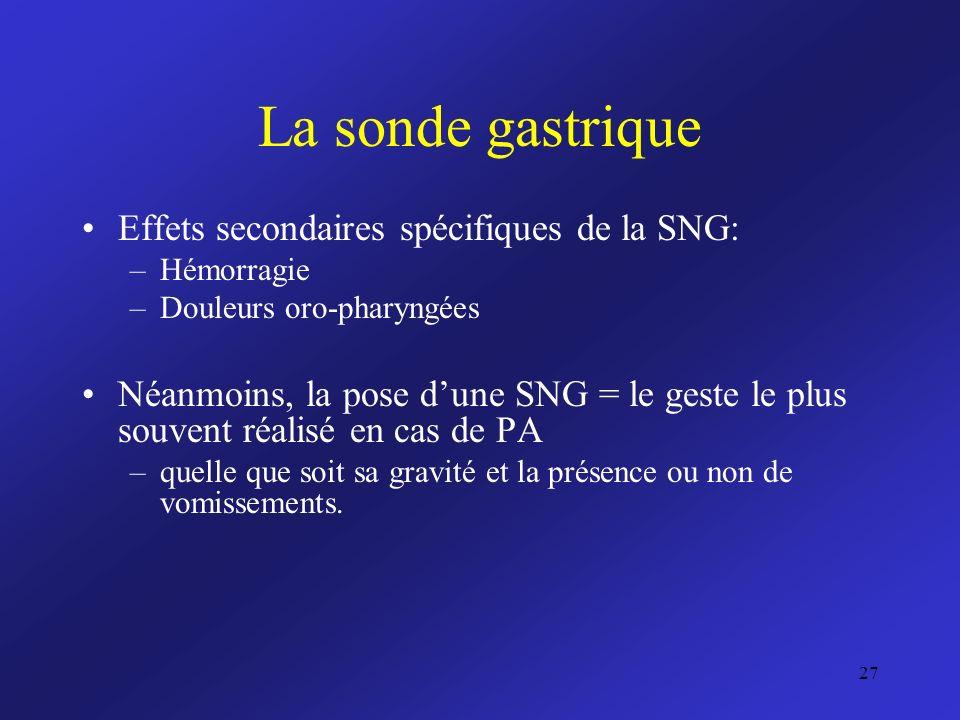 La sonde gastrique Effets secondaires spécifiques de la SNG: