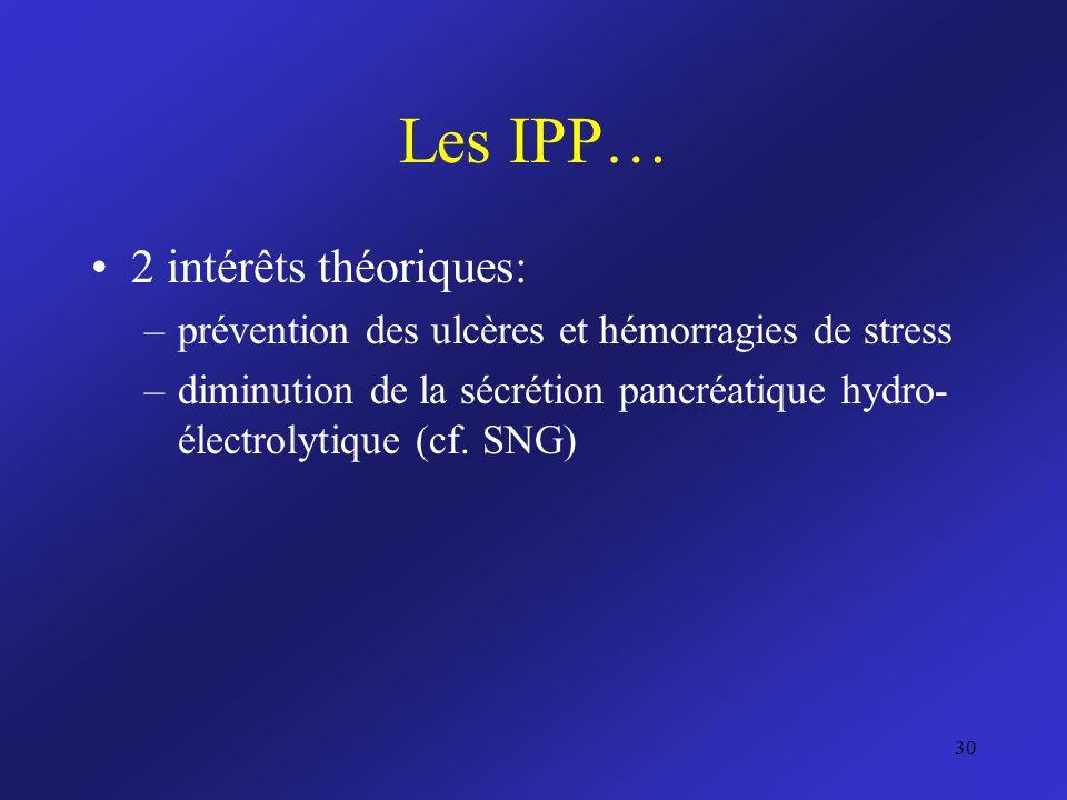 Les IPP… 2 intérêts théoriques: