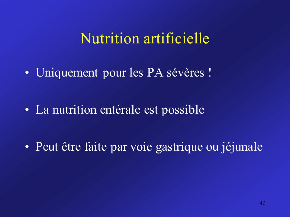 Nutrition artificielle