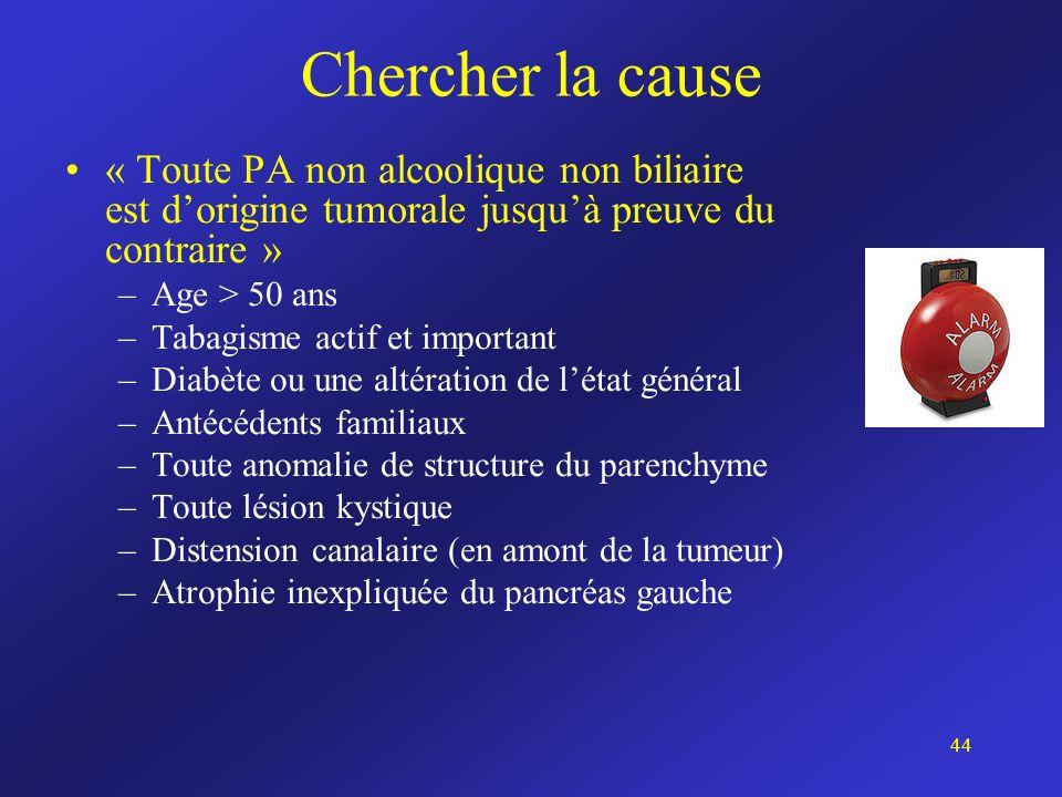 Chercher la cause « Toute PA non alcoolique non biliaire est d'origine tumorale jusqu'à preuve du contraire »