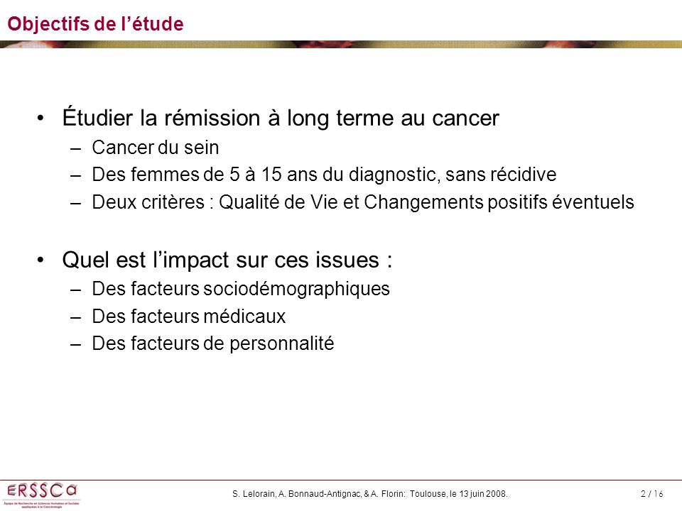 Étudier la rémission à long terme au cancer