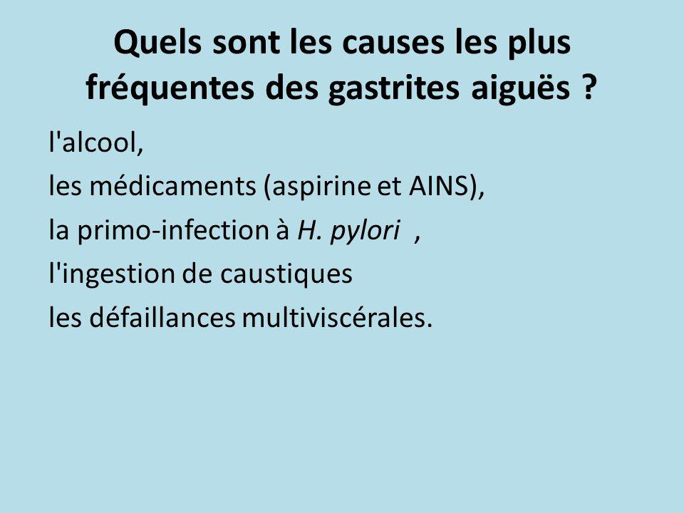 Quels sont les causes les plus fréquentes des gastrites aiguës