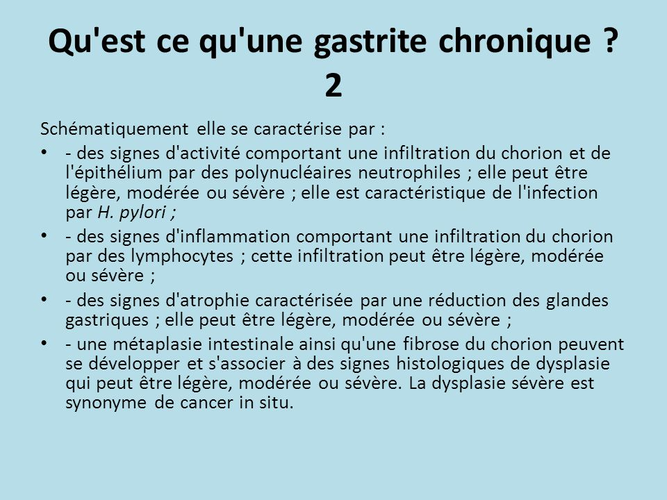 Qu est ce qu une gastrite chronique 2