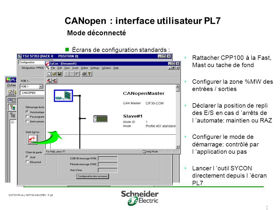 CANopen : interface utilisateur PL7 Mode déconnecté