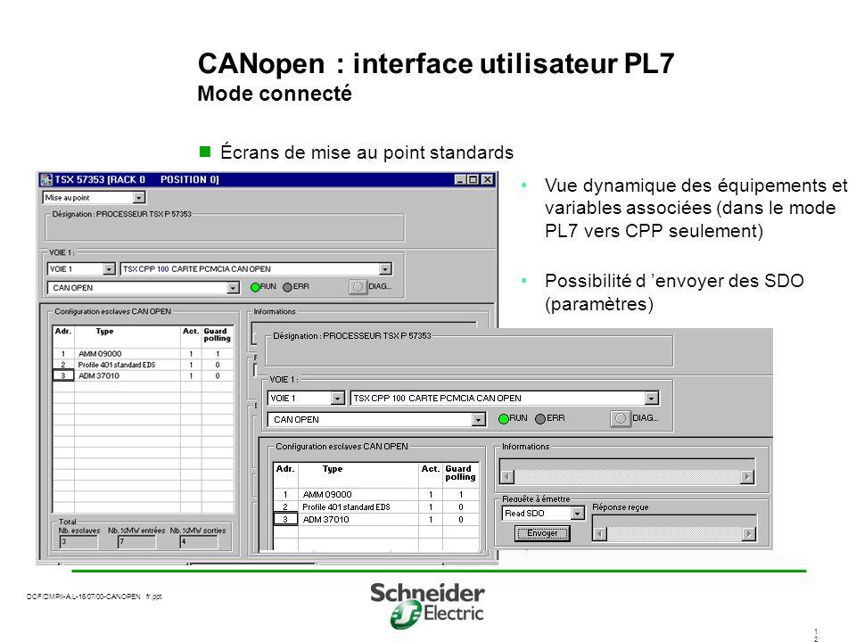 CANopen : interface utilisateur PL7 Mode connecté