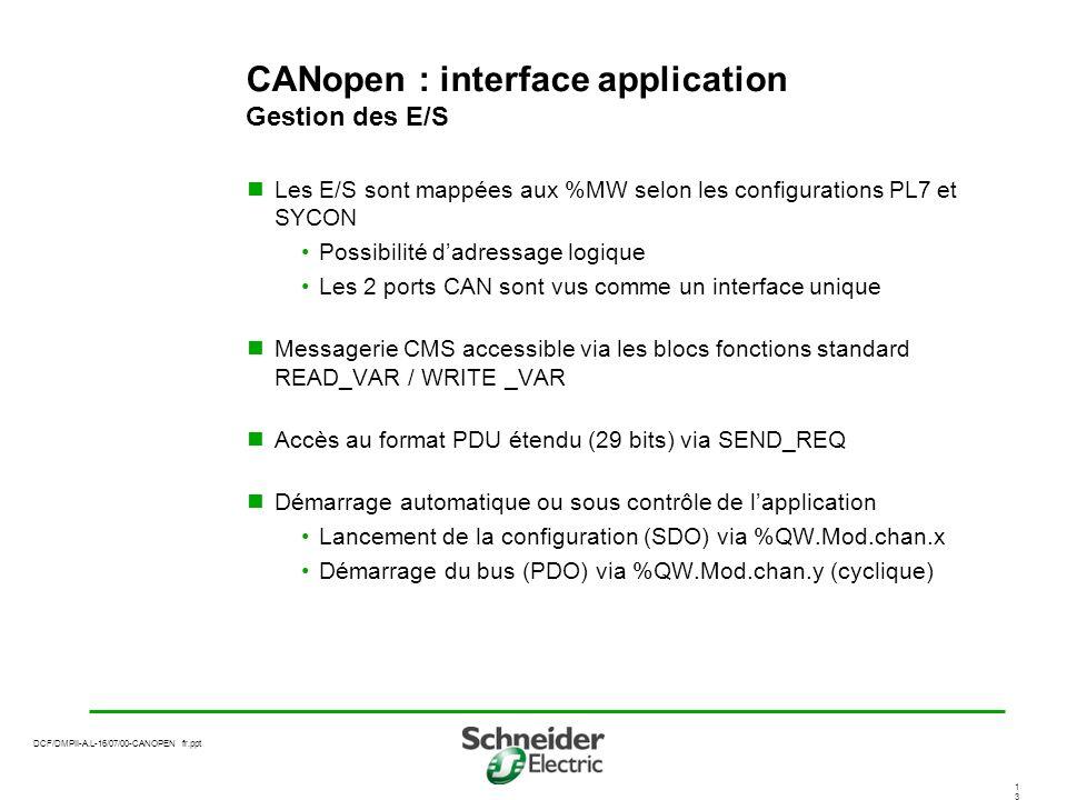 CANopen : interface application Gestion des E/S