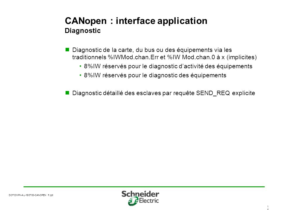 CANopen : interface application Diagnostic
