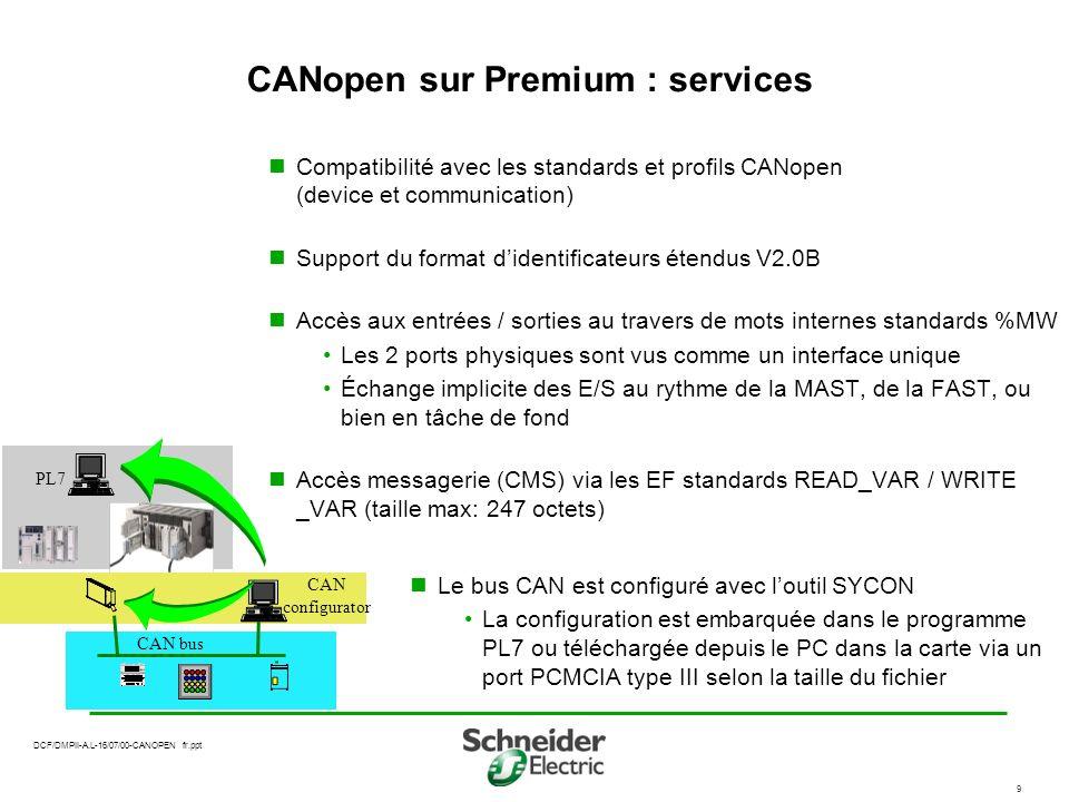 CANopen sur Premium : services