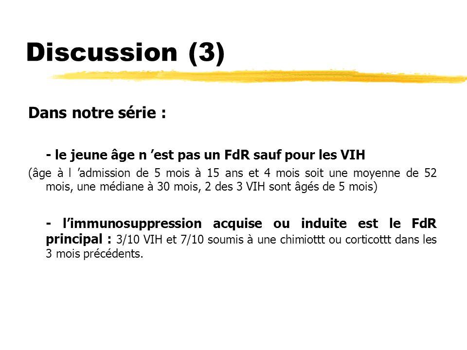 Discussion (3) Dans notre série :