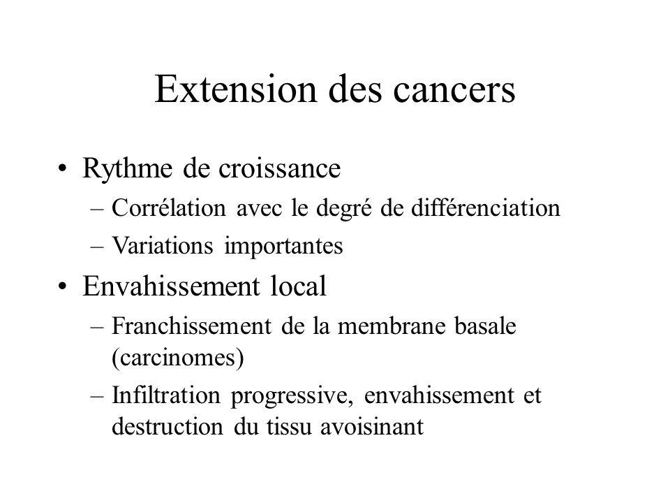 Extension des cancers Rythme de croissance Envahissement local