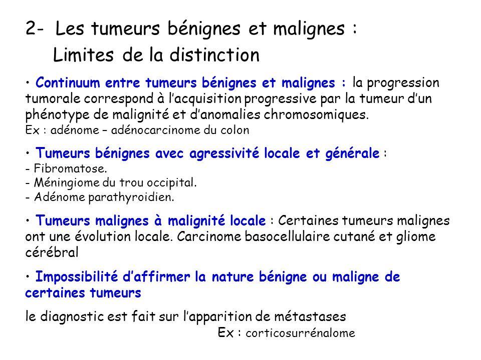 2- Les tumeurs bénignes et malignes : Limites de la distinction