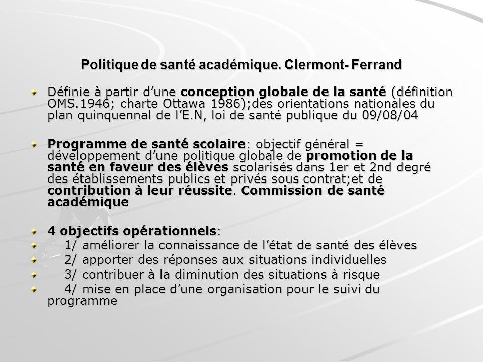 Politique de santé académique. Clermont- Ferrand