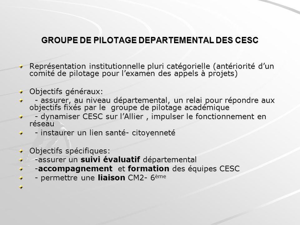 GROUPE DE PILOTAGE DEPARTEMENTAL DES CESC
