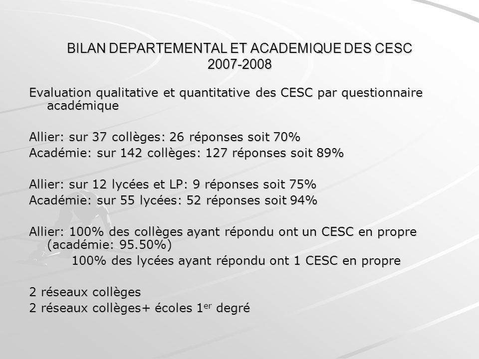 BILAN DEPARTEMENTAL ET ACADEMIQUE DES CESC 2007-2008