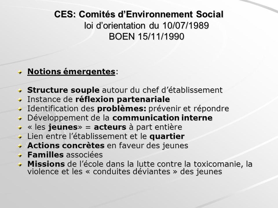 CES: Comités d'Environnement Social loi d'orientation du 10/07/1989 BOEN 15/11/1990