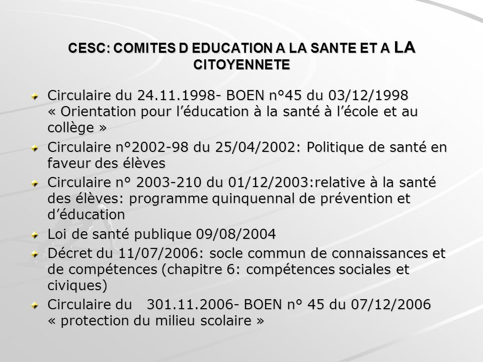 CESC: COMITES D EDUCATION A LA SANTE ET A LA CITOYENNETE