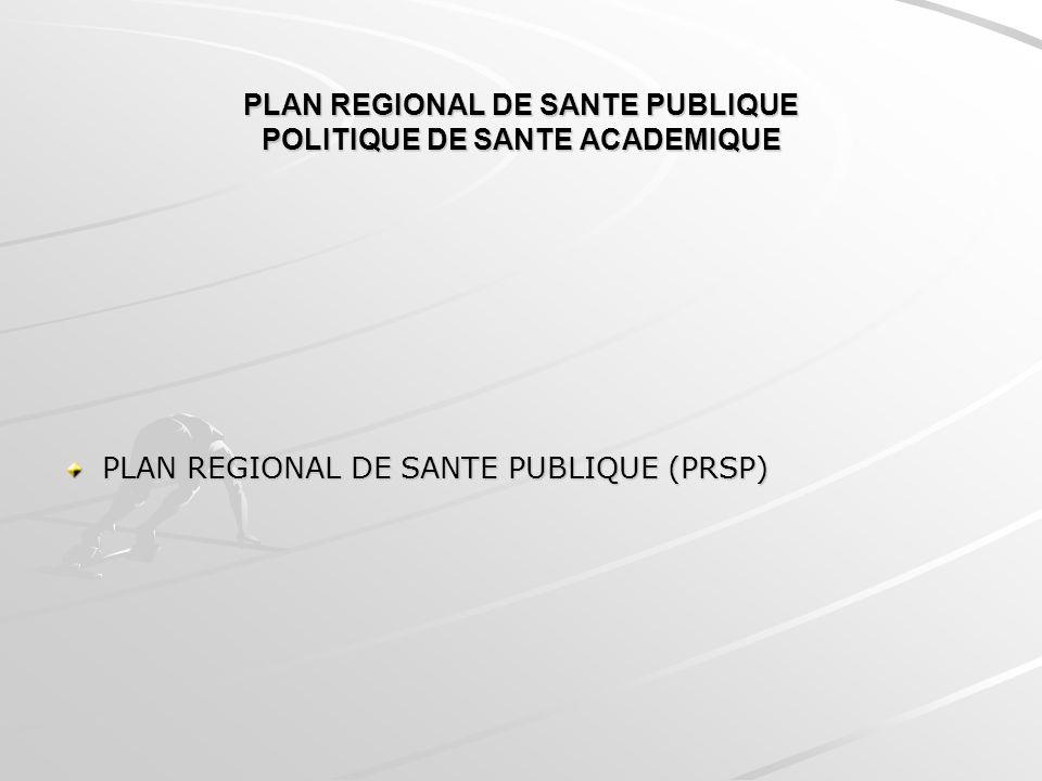 PLAN REGIONAL DE SANTE PUBLIQUE POLITIQUE DE SANTE ACADEMIQUE